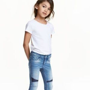 H&M Silver Sequin Patch Skinny Jeans